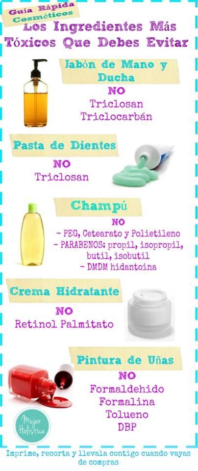Guía ingredientes tóxicos cosméticos